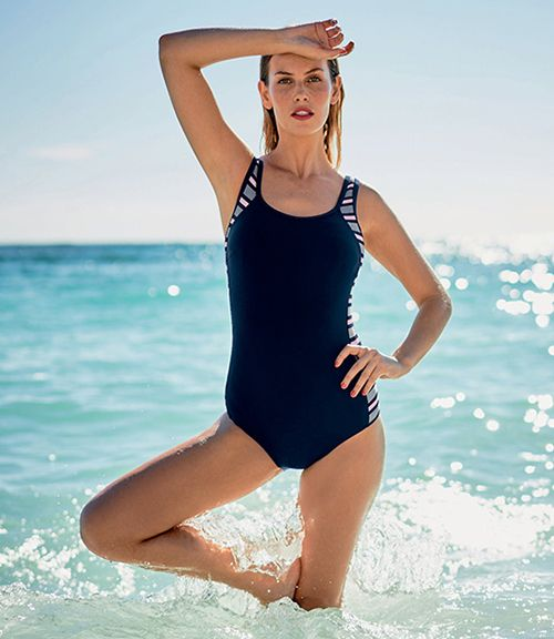 woman wearing a navy blue swimwear